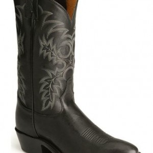 TONY LAMA MENS BLACK STALLION R TOE BOOTS 7900