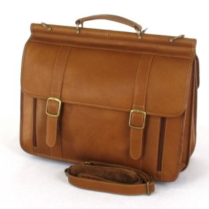 CHARLIE LEATHER California Tan Triple Briefcase Organizer 205