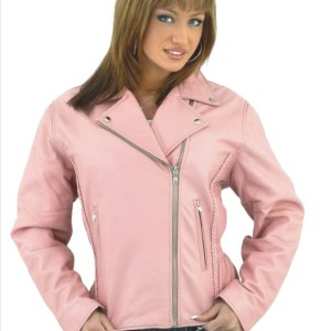 DEALER LEATHER Ladies Heavy Duty Soft Leather Pink Jacket w/ Braid, Lining & Gather Sides LJ710