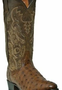 "DAN POST "" Tempe "" Men's Full Quill Ostrich Saddle Brown Boots DP2323"