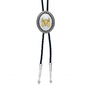 New Traditions Stars and Barbed Wire Bailiwick Bolo Tie with Ceremonial Skull