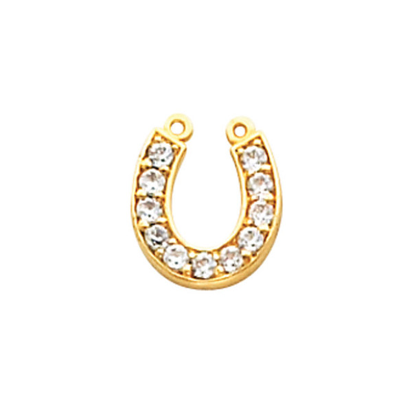 14K Yellow 1.7mm Round Horseshoe Necklace Center