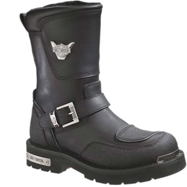 Harley Davidson Men Leather Black Double Zip Motorcycle Boots