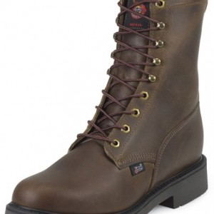 Justin 734 Men's Double Comfort Collection Work Boot with Bay Apache Leather Foot and a Round Toe