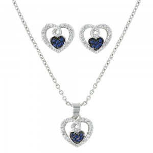 Curlicued Cerulean Heart Jewelry Set