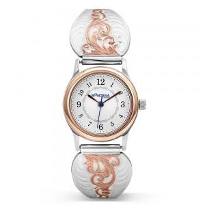 Rose Gold Scrolls Ladies Expansion Band Watch